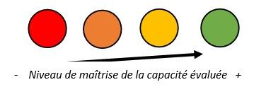 Fig 3 : code couleur utilisé pour l'évaluation formative
